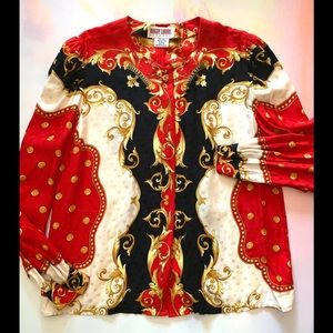 MAGGY LONDON Silk Red Baroque Blouse